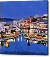 Painting Of Agios Nikolaos City Canvas Print