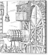 Agricola Water Pump, 1556 Canvas Print
