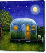 Airstream Camper Under The Stars Canvas Print