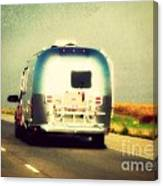 Airstream Rolling Down The Highway Canvas Print