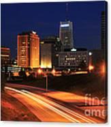 D1u-140 Akron Ohio Night Skyline Photo Canvas Print