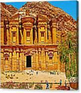 Al-dayr Or The Monastery In Petra-jordan  Canvas Print
