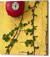 Alarm Bell And Vines Yellow Wall Canvas Print