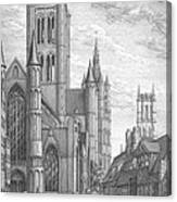 Alarming Morning In Ghent. The Left Part Of The Triptych - The Age Of Cathedrals Canvas Print