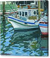 Alaskan Boats In Rippling Water Canvas Print