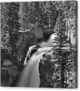 Alberta Falls In B-w Canvas Print