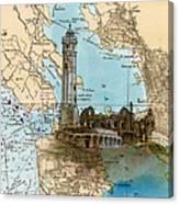 Alcatraz Island Lighthouse Ca Nautical Chart Map Art Canvas Print