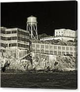 Alcatraz The Rock Sepia 1 Canvas Print