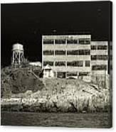 Alcatraz The Rock Sepia 2 Canvas Print