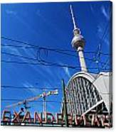 Alexanderplatz Sign And Television Tower Berlin Germany Canvas Print