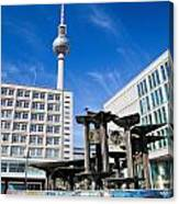 Alexanderplatz View On Television Tower Berlin Germany Canvas Print