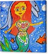 Alexandra's Mermaid Swims With The Dolphins Canvas Print