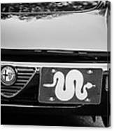 Alfa Romeo Grille Emblem -0287bw Canvas Print
