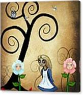 Alice In Wonderland Art - Alice And Flowers Canvas Print