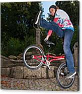 Alive And Kicking - Bmx Flatland Power Girl Canvas Print