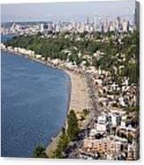 Alki Beach And Downtown Seattle Canvas Print