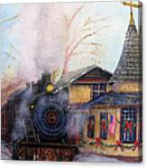 All Aboard At The New Hope Train Station Canvas Print