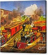 All Aboard The Lightning Express 1874 Canvas Print