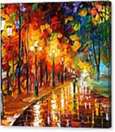 Alley Of The Memories - Palette Knife Oil Painting On Canvas By Leonid Afremov Canvas Print