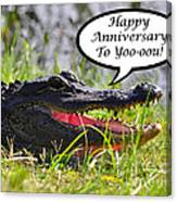 Alligator Anniversary Card Canvas Print