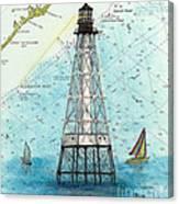 Alligator Reef Lighthouse Fl Keys Nautical Map Cathy Peek Canvas Print
