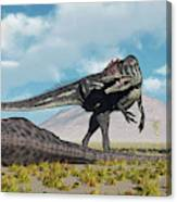 Allosaurus Dinosaurs Approaching Canvas Print