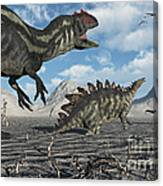 Allosaurus Dinosaurs Moving In To Kill Canvas Print