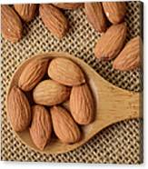 Almonds On A Spoon With Brown Background Canvas Print