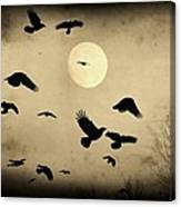 Almost Full Moon And Crows Canvas Print