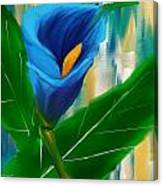 Alone In Blue- Calla Lily Paintings Canvas Print
