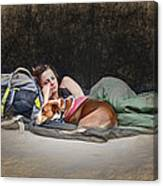 Alone With Her Dog Canvas Print