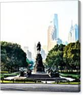 Along The Benjamin Franklin Parkway In Philadelphia Canvas Print