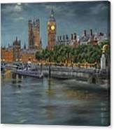 Along The Thames At Night Canvas Print
