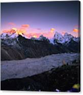 Alpenglow Lights The Summit Of Mt Canvas Print