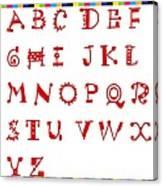 Alphabet With Multicolor Canvas Print