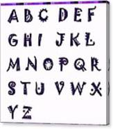 Alphabet With Purple Stripes Canvas Print