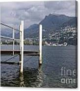 Alpine Lake And A Jetty Canvas Print