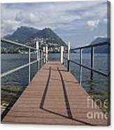 Alpine Lake With A Pier Canvas Print