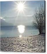Alpine Lake With Snow Canvas Print