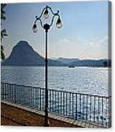 Alpine Lake With Street Lamp Canvas Print