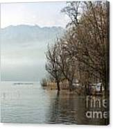 Alpine Lake With Trees Canvas Print