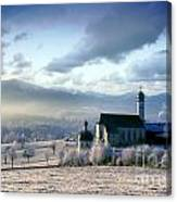 Alpine Scenery With Church In The Frosty Morning Canvas Print