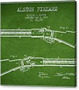 Alston Firearm Patent Drawing From 1887- Green Canvas Print