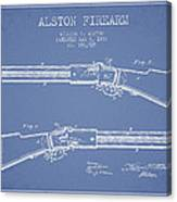 Alston Firearm Patent Drawing From 1887- Light Blue Canvas Print