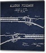 Alston Firearm Patent Drawing From 1887- Navy Blue Canvas Print