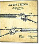 Alston Firearm Patent Drawing From 1887- Vintage Canvas Print