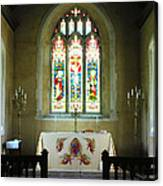 Altar And Stained Glass Window Nether Wallop Canvas Print