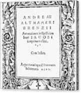 Althamer Title Page, 1527 Canvas Print