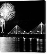 Alton Fireworks Black And White Canvas Print