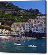 Amalfi Beach And Town Canvas Print